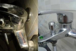 Trước và sau khi sử dụng Autosol đối với vòi nước trong phòng tắm