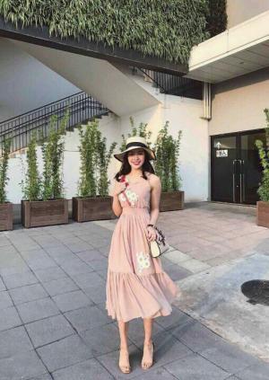 Đầm maxi ép hoa thêu cực xinh