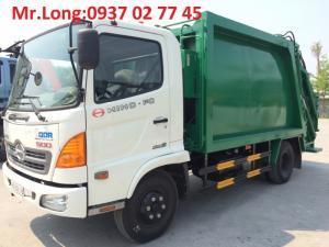 xe hino chở rác 9 khối , xe chuyên dùng chở và ép rác 9 khối , xe hino fc chở rác , xe chở rác 6 tấn , xe hino 6t2 chở rác