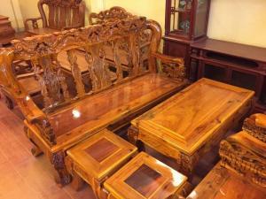 Bộ bàn ghế gỗ tràm, chạm kỳ lân cột 12, 6 món-BBG400