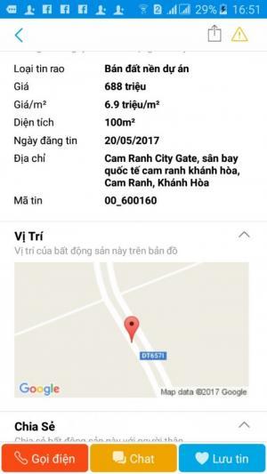 Đất nền giá rẻ dự án cam ranh city gate giá chỉ từ 688tr/1 nền 80m2