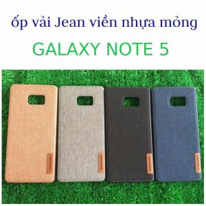 Ốp lưng vải Jean viền nhựa mỏng cho Samsung Note 5