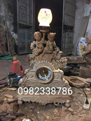 Đồng hồ gỗ hương đèn ngủ cao 80 rộng 50