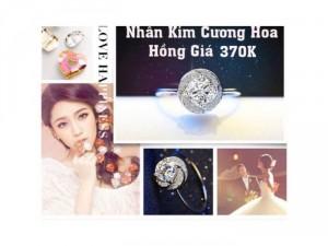 Nhẫn bạc hoa hồng làm bằng kim cương nhân tạo