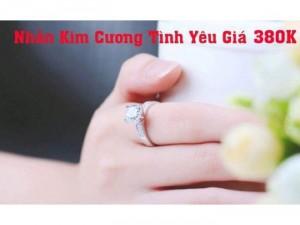 Nhẫn bạc kim cương tình yêu sale giá gốc