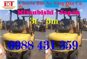 Thông số kỹ thuật xe nâng Mitsubishi 3 tấn Model : FD30T Hiệu xe : Mitsubishi Tình trạng xe : Xe nâng đã qua sử dụng Nhiên liệu : Xe nâng dầu Năm sản xuất : 09/2002 Tải trọng nâng : 3000 kg Nâng cao : 3000 mm Tải trọng xe : 4380 kg Trung tâm tải : 500 mm