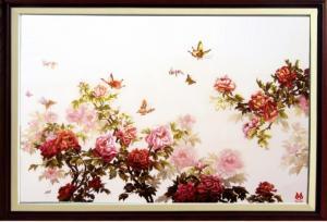 tranh thêu cao cấp hoa mẫu đơn (kích thước 62 cm * 88 cm)