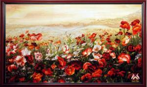 tranh thêu tay cao cấp hoa Cô li cô (kích thước 85cm * 68 cm)