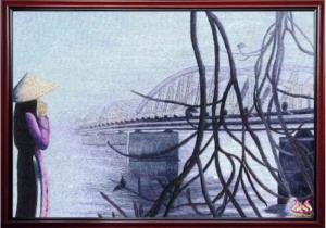 tranh theu tay cao cap Cau trang Tien (kích thước 50cm *60cm