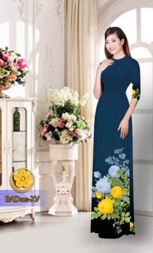 Vải áo dài hoa đẹp  BAD102