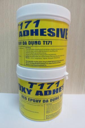 Keo epoxy đa năng - T171 Epoxy Adhesive T171 Epoxy Adhesive là keo epoxy 02 thành phần tỷ lệ 1;1 có độ chịu lực cao và bền vững, chống thấm và không gây ô nhiễm môi trường. Công dụng :  1. Dán, lắp đặt, lắp ghép các loại đá granite, marble. 2. Xử lý bề mặt bê tông, sắt, thép, gỗ nứt và lồi lõm. 3. Dùng cấy sắt vào tường, cấy bu-lông, ốc, vít vào bê tông và dán kim loại với nhau. 4. Dùng để dán các loại gạch ceramic  5. Dán các loại đá vào tấm gypsum board. 6. Dán các loại đá vào tường 7. Dán các loại gỗ và dùng trong công nghiệp gỗ  Xuất xứ : sản phẩm được sản xuất tại Taiwan ( Đài Loan) theo tiêu chuẩn của Mỹ.