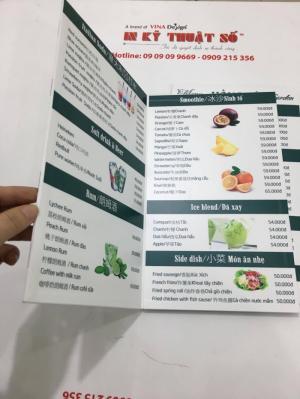 In menu từ PP cán format, đơn giản, đẹp, dễ đọc