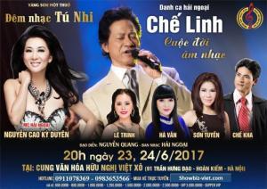 Bán vé liveshow Chế Linh  Tú Nhi - cuộc đời âm nhạc ngày 23;24/6 tại cung Việt Xô