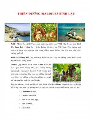 THIÊN ĐƯỜNG MALDIVES BÌNH LẬP