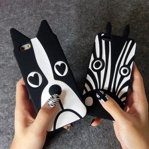 Ốp lưng Iphone - Ốp silicon chó mặt xệ - ngựa vằn