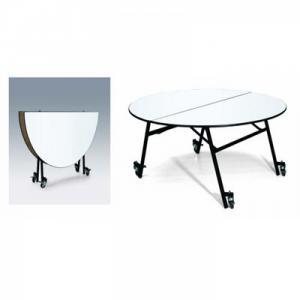 BÀN TRÒN GỖ HỘI NGHỊ - TIỆC CƯỚI + Kích thước: (ø)1800x(H)760 mm                      (ø)1600x(H)760 mm                      (ø)1400x(H)760 mm                        (ø)1200x(H)760 mm + MặT bàn bằng gỗ dày 18mm - 20mm + Khung chân sắt sơn,4 bánh xe xoay 360 độ, gấp được