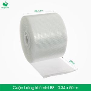 B8 - Cuộn bóng khí  - màng xốp hơi Size 34x 50m- Hộp giấy Carton đóng gói gửi hàng thu hộ COD