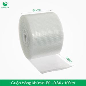 B9 - Cuộn bóng khí  - màng xốp hơi  -Size 34x 100m- Hộp giấy Carton đóng gói gửi hàng thu hộ COD