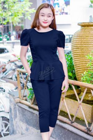 Đồ bộ nữ lửng áo xòe tay ngắn chít eo vải cát hàn chất lượng may kỹ đẹp giá rẻ