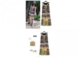 Đầm maxi họa tiết làng quê