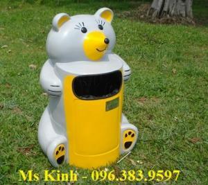 Bán thùng rác nhựa hdpe 660 lít bền rẻ ở tphcm, thùng rác hình con thú