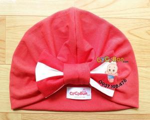 Nón Turban Cho Bé Đỏ Hoa Nơ Sọc Đỏ
