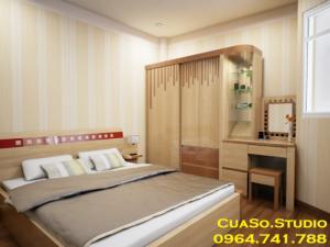 Phòng ngủ hiện đại cho người độc thân, thiết kế phòng ngủ hiện đại TPHCM, phòng ngủ độc thân,