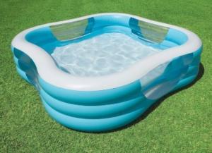 Bể thích hợp cho cả gia đình sử dụng mỗi khi mùa hè đến, đáy bể có van xả nước thuận tiện khi thoát nước.