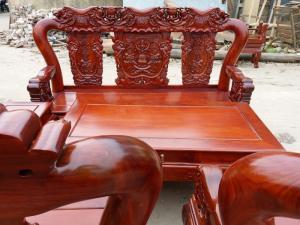 Bộ bàn ghế voi ma mút gỗ hương vân tay 12