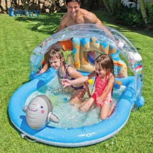 Bể bơi phao INTEX mái che mẫu mới thiết kế cực dễ thương có vùi phun mưa ở chú cá heo ngộ nghĩnh