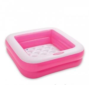 Bể bơi hình vuông, màu hồng đáy 2 lớp bơm hơi êm ái