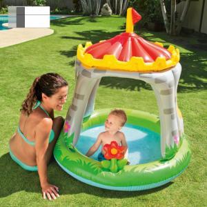 Bể bơi phao mái che phía trên có hình lâu đài có thể làm nhà hơi cho bé vui chơi trên cạn.