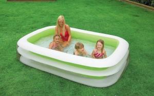 Bể bơi gia đình dày dặn  0.32 mm, 2 tầng màu xanh nõn chuối cực cá tính trong suốt tạo cảm giác bể cực rộng.