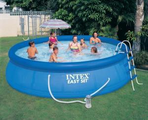 Bể bơi gia đình  4m57*84 INTEX tích hợp máy lọc nước tiện dụng cho bể bơi, không đi kèm cầu thang như hình