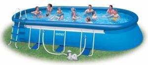 Bể bơi phao Intex cỡ đại hình oval có máy lọc nước