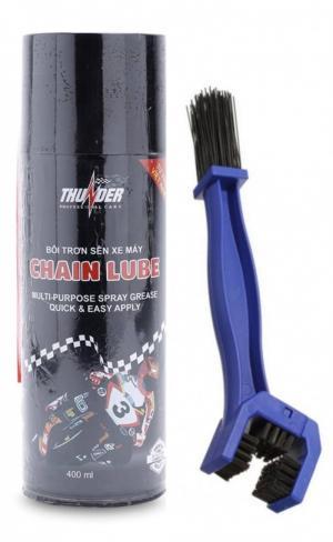 Bộ sản phẩm Thunder Chain Lube 400ml và bàn chải vệ sinh sên cao cấp