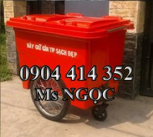 xe gom rác 660 lít 3 bánh hơi