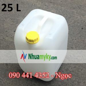 Can nhựa 25 lít vuông trắng  Mẫu 25.1  KT:  270 *250 *450 mm  NL:nhựa HDPE  Màu xanh ,trắng