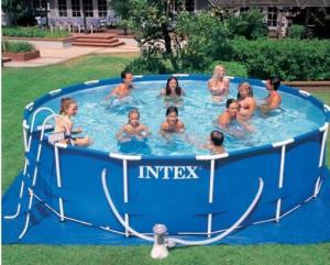 Bể bơi phao khung kim loại tròn 4m57 có máy lọc nước INTEX - 28236