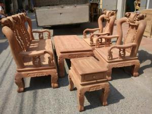 Bộ bàn ghế gỗ cẩm nam phi hàng đào tay 12