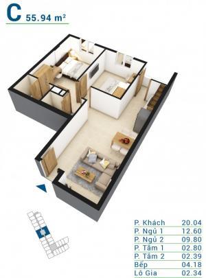Cần bán căn hộ 01 phòng ngủ, diện tích 50m2 giá 765 triệu. Giá ưu đãi
