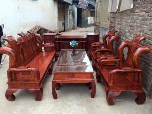 Bộ bàn ghế giả cổ tần thủy hoàng gỗ hương vân