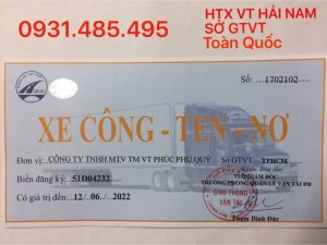 Phù hiệu xe tải  xe hợp đồng, xe đầu kéo. HTX VT HẢI NAM cn Bình Phước