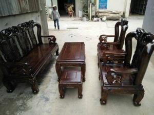 Bộ bàn ghế minh quốc đào gỗ tràm lõi tay 10