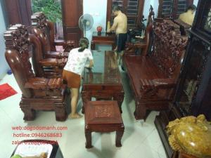 Bộ Bàn Ghế Rồng Đỉnh Hương Vân Tay 18 ( 6 món) ( 10 - 12 món )