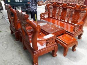 Bàn ghế phòng khách - Quốc đào tay 10 gỗ XOAN TA tại xưởng sản xuất