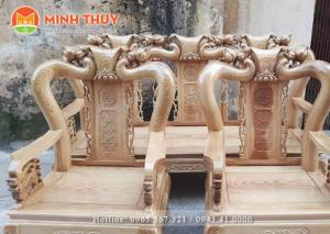 Bàn ghế phòng khách - Minh quốc đào tay 10 gỗ sồi nga bộ 6 món tại xưởng