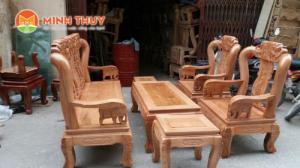 Bàn ghế phòng khách - Quốc voi tay 10 gỗ Sồi Nga bộ 6 món tại xưởng