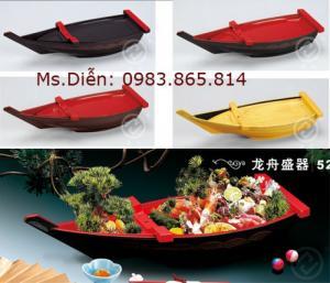 Thuyền nhựa trang trí, thuyền nhựa decor, thuyền shushi, thuyền nhật shushi