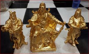 Tượng đồng tam thánh dát vàng cao 20cm